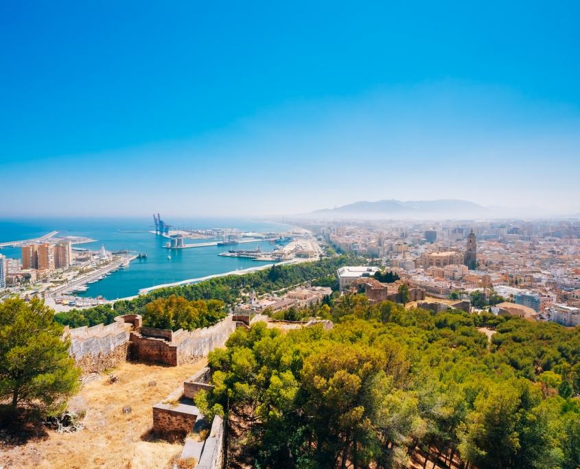 Vue panoramique Malaga Espagne Europe Voyage