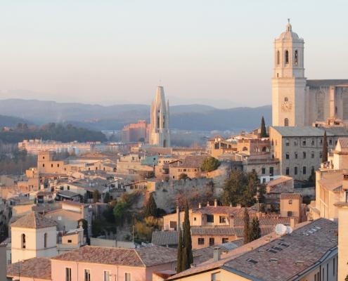 Coucher soleil Gérone Espagne Europe Voyage