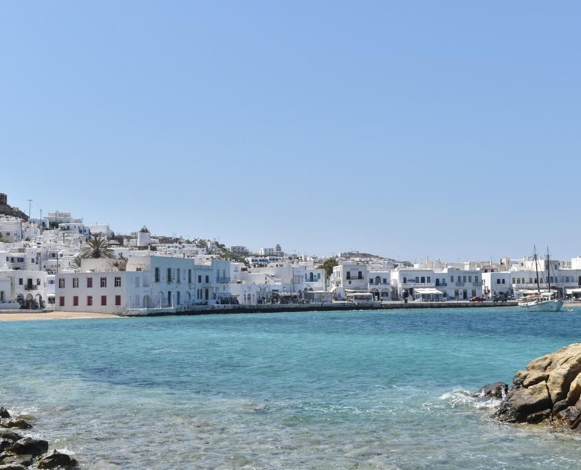 Mykonos vue de la mer Grèce Europe Voyage