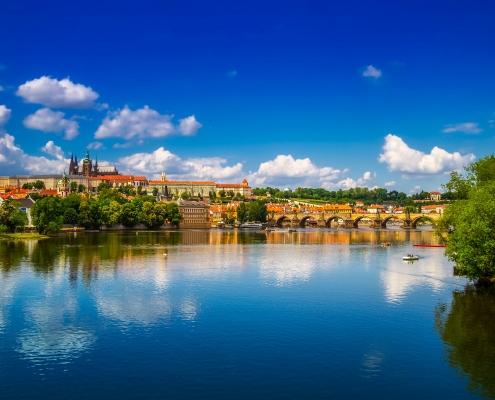 Prague rivière Vltava République tchèque Voyage