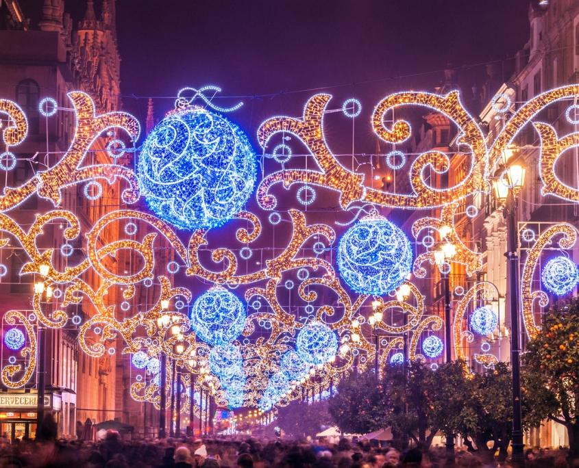 Lumières de Noël sur l'avenue de Séville Espagne Europe Voyage