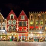 Bruges, Place du marché de nuit Europe Voyage