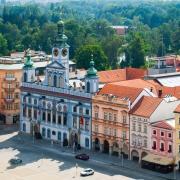 La place principale de Ceske Budejovice République Tchèque Europe Voyage