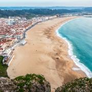 Vue de la plage de Nazaré Portugal Euroep Voyage