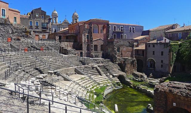 Catane, théâtre romain Sicile Europe Voyage