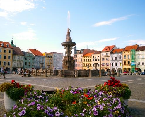 Ceske Budejovice, place principale République Tchèque Europe Voyage