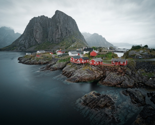 Paysage Norvège maisons rouges Voyage
