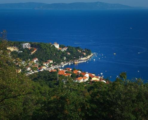 Vue panoramique Rabac Croatie Europe Voyage