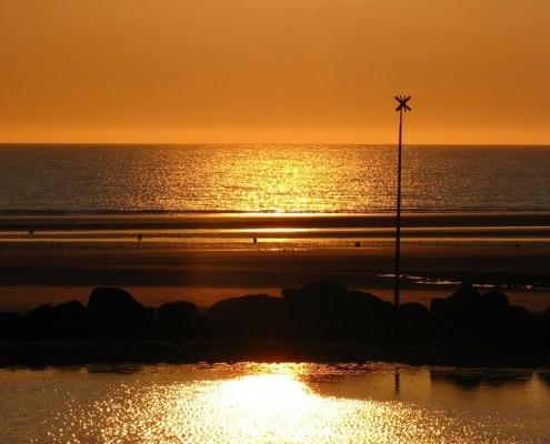 Coucher de Soleil sur les plages du Nord de la France Nord Pas de Calais France Europe Voyage
