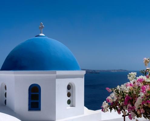 Dôme bleu Santorin Grèce Europe Voyage